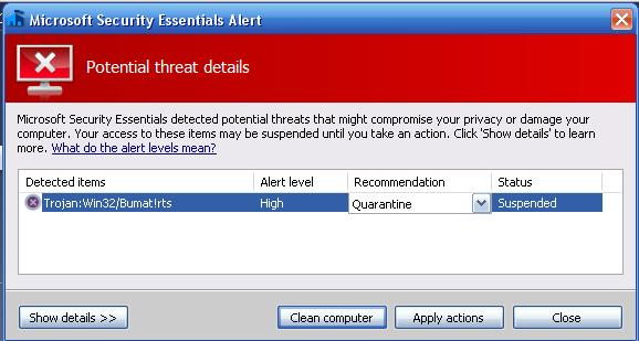 Microsoft MSE threat detected quarantine